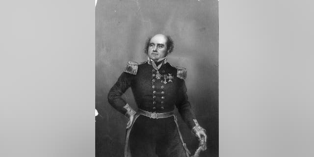 Circa 1810: British Naval Officer and Arctic explorer Sir John Franklin (1786 - 1847) who died on an expedition to navigate the North West Passage. Original Artwork: Engraving by D J Pound Drawing by Negelen