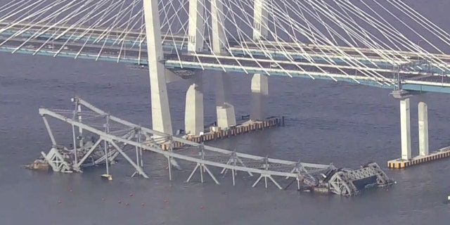 Workers used explosive charges to demolish the remains of the old Tappan Zee Bridge on Tuesday