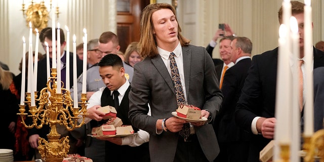 Clemson quarterback Trevor Lawrence attended a dinner at the White House hosted by President Trump on Monday, Jan. 14, 2019.