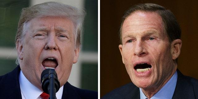 """President Donald Trump slammed Sen. Richard Blumenthal, D-Conn., as """"Da Nang Dick"""" in a tweet Wednesday, calling out the senator's false claims of having fought in the Vietnam War."""