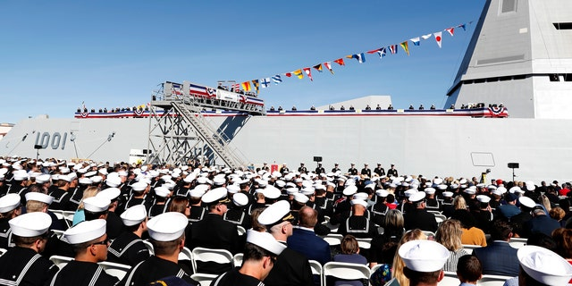 190126-N-XN177-1481 SAN DIEGO (Jan. 26, 2019) The crew of the Zumwalt-class guided-missile destroyer USS Michael Monsoor (DDG 1001) brings the ship to life during its commissioning ceremony, Jan. 26, 2019. Michael Monsoor is the second Zumwalt-class destroyer to enter the fleet. It is the first Navy combat ship named for fallen Master-at-Arms 2nd Class (SEAL) Michael Monsoor, who was posthumously awarded the Medal of Honor for his heroic actions while serving in Ramadi, Iraq, in 2006 (U.S. Navy photo by Mass Communication Specialist 1st Class Peter Burghart/Released)