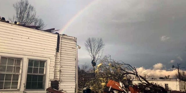 Sharon Watson said the rainbow she saw after the tornado was a sign that God had protected her.