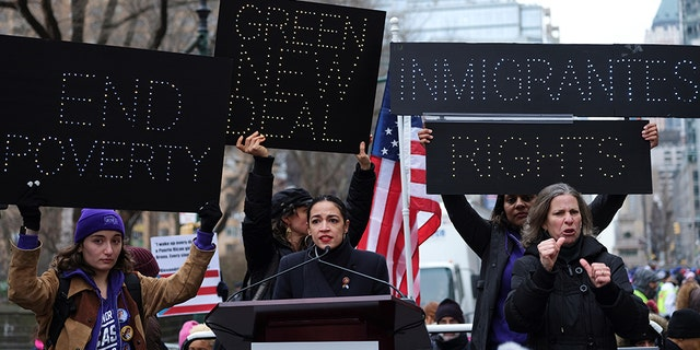 Rep. Alexandria Ocasio-Cortez, D-NY, speaks during a march organized by the Women's March Alliance in the Manhattan borough of New York City, U.S., January 19, 2019.