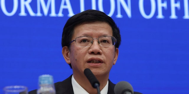 Wu Yanhua, deputy director of the national space agency, speaks during a press conference held in Beijing, China, Monday, Jan. 14, 2019. Wu said Monday that NASA shared information about its lunar orbiter satellite in hopes of monitoring the landing of the Chang'e 4 spacecraft.(AP Photo/Ng Han Guan)