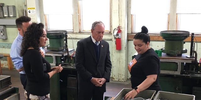 Bloomberg meeting with employees at the WH Bagshaw Company in Nashua, New Hampshire, which touts itself as the oldest pin manufacturer in the country.