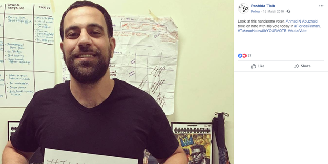 "Rashida Tlaib shared a picture of Ahmed Abuznaid on her personal Facebook page, writing ""Look at this handsome voter. Ahmad Abuznaid took on hate with his vote today in #FloridaPrimary."""