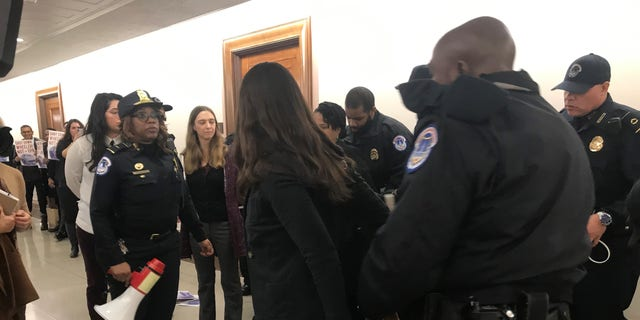 Outside the hearing room, some protesters were seen being arrested by Capitol Hill police. (Caroline McKee/Fox News)