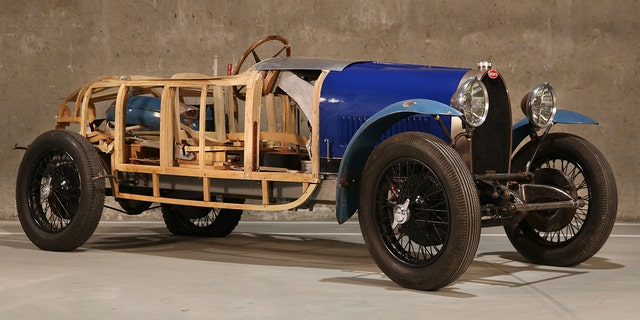 The artist started building his own bodywork for the Type 40, but only got as far as the wood frame.