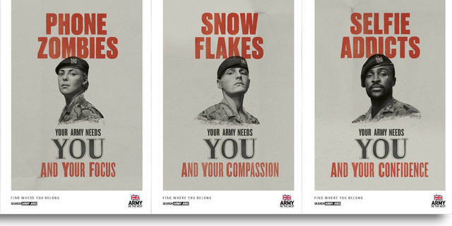 The ad campaign, which features YouTube videos and posters modeled off the famous 'Your Country Needs You' slogan from the First World War, comes as Britain is struggling to recruit new soldiers.