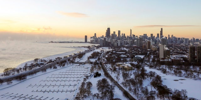 Chicago's lakefront is covered with ice on Wednesday, Jan. 30, 2019.