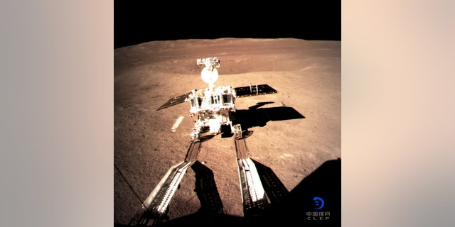 In this photo provided on Thursday, Jan. 3, 2019, by China National Space Administration via Xinhua News Agency, Yutu-2, China's lunar rover, leaves wheel marks after leaving the lander that touched down on the surface of the far side of the moon.