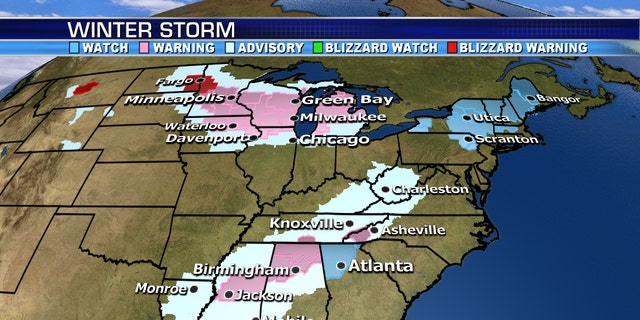 Winter storm warnings and advisories associated with a system that will usher in arctic air across parts of the country.