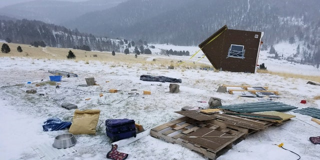 Fierce winds sent a tiny home tumbling about 200 feet in Colorado on Tuesday.