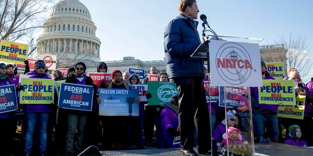 Sen. Richard Blumenthal, D-Conn., speaks at an Air Traffic and pilot unions protest against the government shutdown on Capitol Hill in Washington, Thursday, Jan. 10, 2019. (AP Photo/Andrew Harnik)