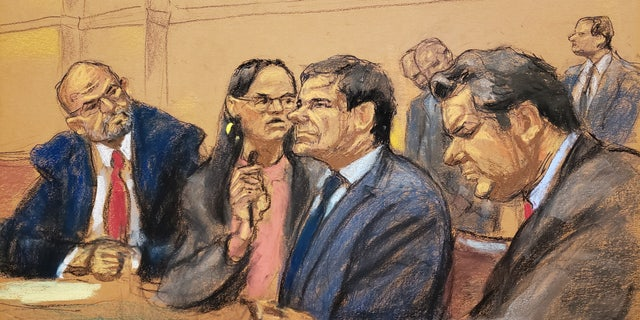 "Joaquin ""El Chapo"" Guzman, second from right, in court Thursday."