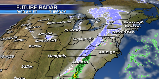 The winter storm will bring snow into parts of the Deep South on Tuesday.