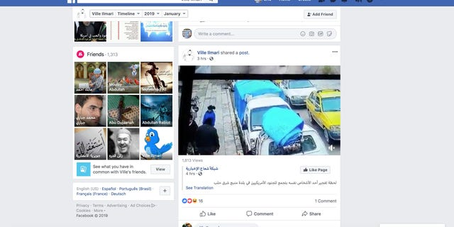 A screenshot shows an account on Facebook sympathetic to ISIS with a video of the moment before a suicide bomb explodes.