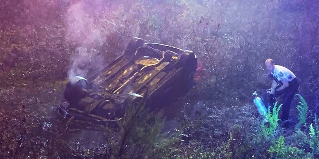 Amando Antonio, 33, was in good condition after flipping her car into a ditch in Tampa, Florida, and being rescued by deputies..