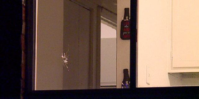 A woman was shot in the stomach after a stray bullet went into her home in Indianapolis on New Year's Day.