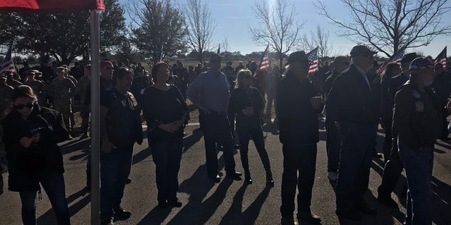 Some of the crowd at veteran Joseph Walker's funeral in Texas.