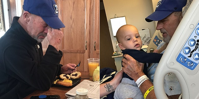 In the photo on the left, T. Scott Marr is reading the story from local paper about his miraculous recovery. On the right, Marr is holding his grandson.