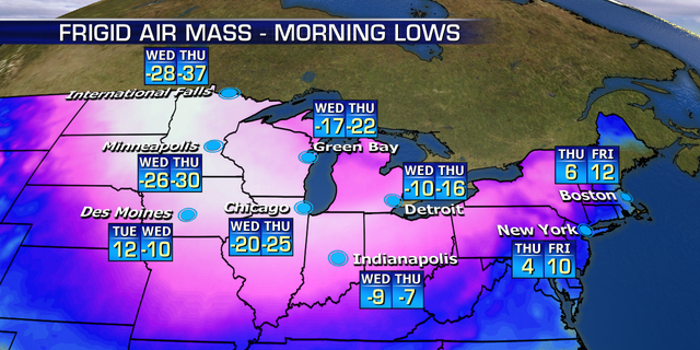 Bitter cold is forecast to impact the Upper Midwest by Wednesday and Thursday.
