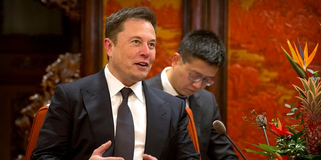 FILE - In this Jan. 9, 2019, file photo, Tesla CEO Elon Musk speaks during a meeting with Chinese Premier Li Keqiang at the Zhongnanhai leadership compound in Beijing.  (AP Photo/Mark Schiefelbein, Pool, File)