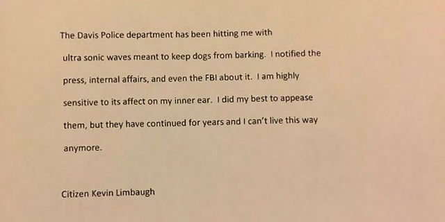 Kevin Douglas Limbaugh claimed in a note that Davis Police had hit him with