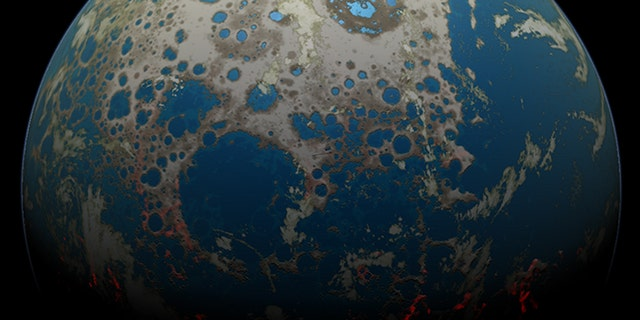 An artistic rendering of the Hadean Earth when the rock fragment was formed. Impact craters, some flooded by shallow seas, cover large swaths of the Earth's surface. The excavation of those craters ejected rocky debris, some of which hit the Moon. (Credit: Simone Marchi)