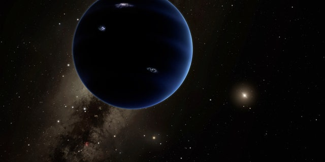 Artist's illustration of Planet Nine, a hypothetical world that some scientists think lurks undiscovered in the far outer solar system.