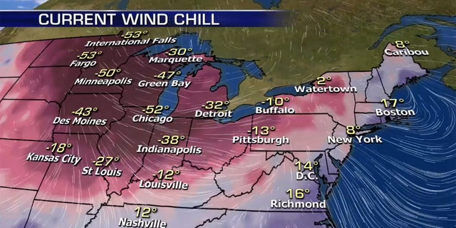 The windchills impacting the Midwest on Wednesday morning.
