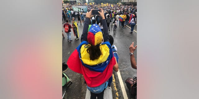 Protests against the Nicolas Maduro regime in Caracas, Venezuela, on Wednesday.