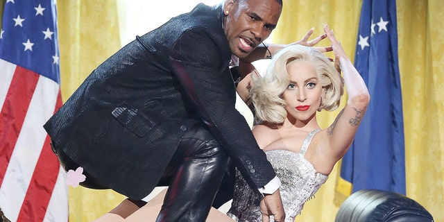 "R. Kelly and Lady Gaga perform ""Do What U Want"" at the American Music Awards in November 2013."