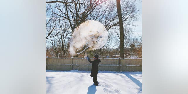 """A cloud of """"smoke"""" is seen in Westwood, Michigan, during the January 2019 polar vortex."""