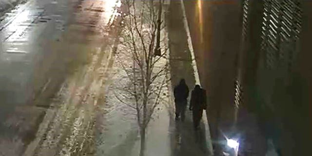 "This image provided by the Chicago Police Department and taken from surveillance video shows two people of interest in an attack on ""Empire"" actor Jussie Smollett walking along a street in the Streeterville neighborhood of Chicago, early Tuesday, Jan. 29, 2019."