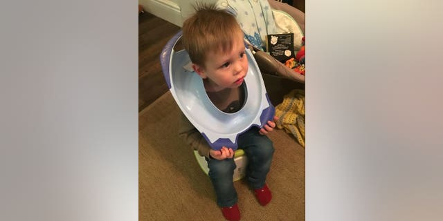 Firefighters were called to free a young boy after he got his head stuck in a toilet seat.