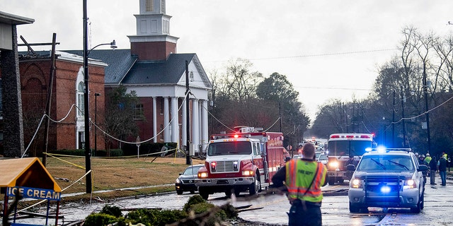 The damaged First Baptist Church is seen after a heavy storm in Wetumpka, Ala., on Saturday, Jan. 19, 2019.