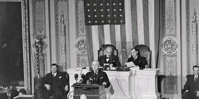 PresidentHarry S. Truman delivered the first televised address on Jan. 6, 1947.