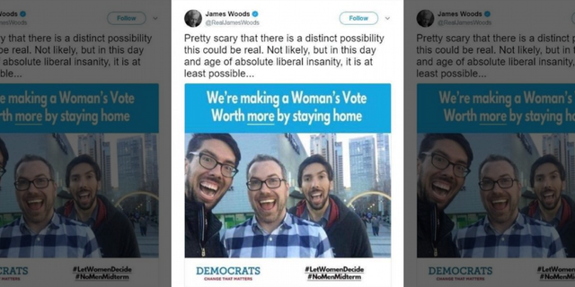 "The meme that Woods posted in July said #LetWomenDecide and #NoMenMidterm. Woods acknowledged the tweet was ""not likely"" real. (Twitter)"