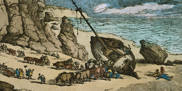 Clearing a Wreck on the North Coast of Cornwall by Thomas Rowlandson