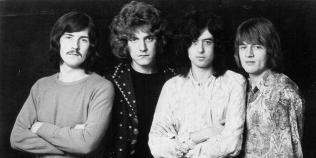 "1968: Rock band ""Led Zeppelin"" poses for a portrait in 1968. (L-R) John Bonham, Robert Plant, Jimmy Page, John Paul Jones. (P0hoto by Michael Ochs Archives/Getty Images)"