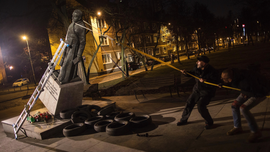 Man charged for toppling statue of Polish priest over abuse