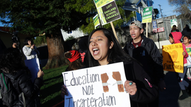 The Latest: Striking Oakland teacher seeks smaller classes