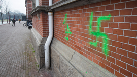 Vandals paint swastikas on buildings in Amsterdam