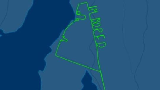 Australian pilot spells out 'I'm Bored' during test flight