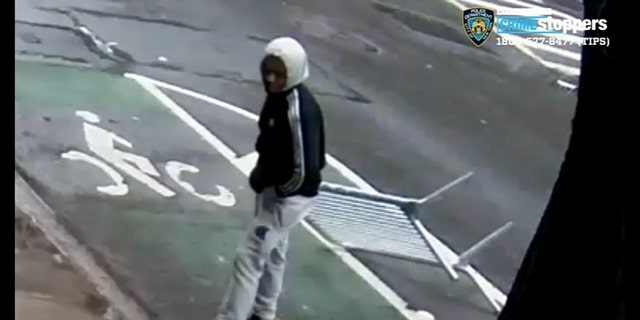 New York City police were looking for a man who allegedly attacked a woman with a metal barrier.