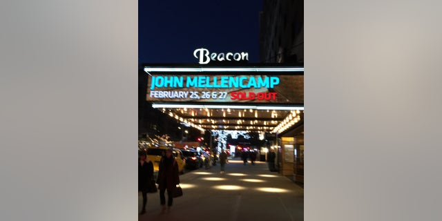 The marquee of the Beacon Theater advertises this week's performances by rocker John Mellencamp, Feb. 25, 2019. (Fox News)