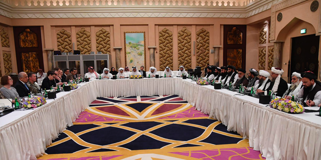 U.S. officials meet with Taliban officials in Doha, Qatar, on February 25, 2019.
