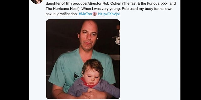 Rob Cohen, pictured with Weather (then Kyle Cohen), claims his daughter has made similar allegations against him in the past that were unfounded.