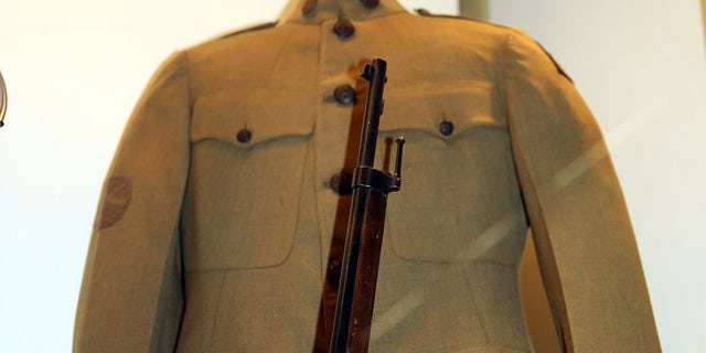 A uniform of the 369th Infantry Regiment, currently on display at the National World War I Museum and Memorial in Kansas City, Missouri.